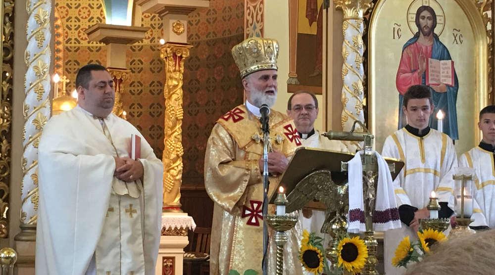 Bishop speaks during church service