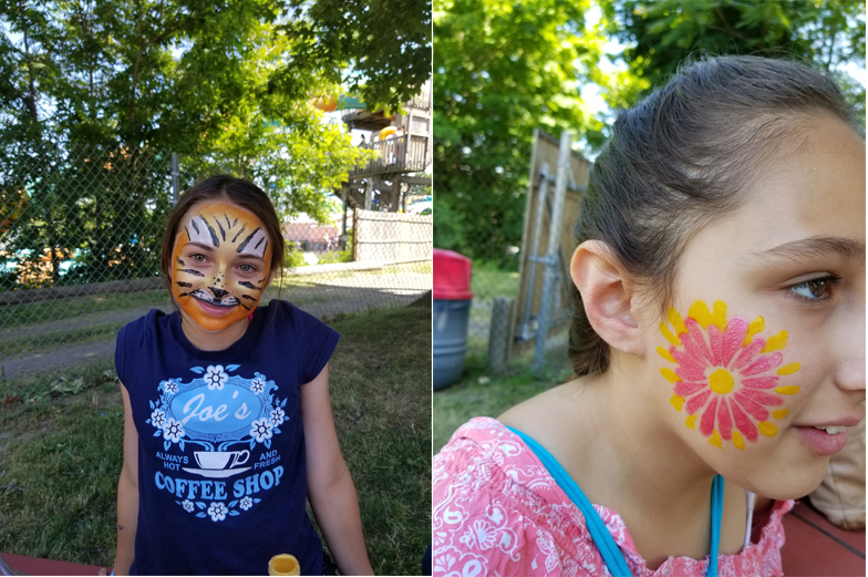 Two females with face paint