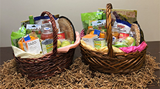 Baskets filled with food