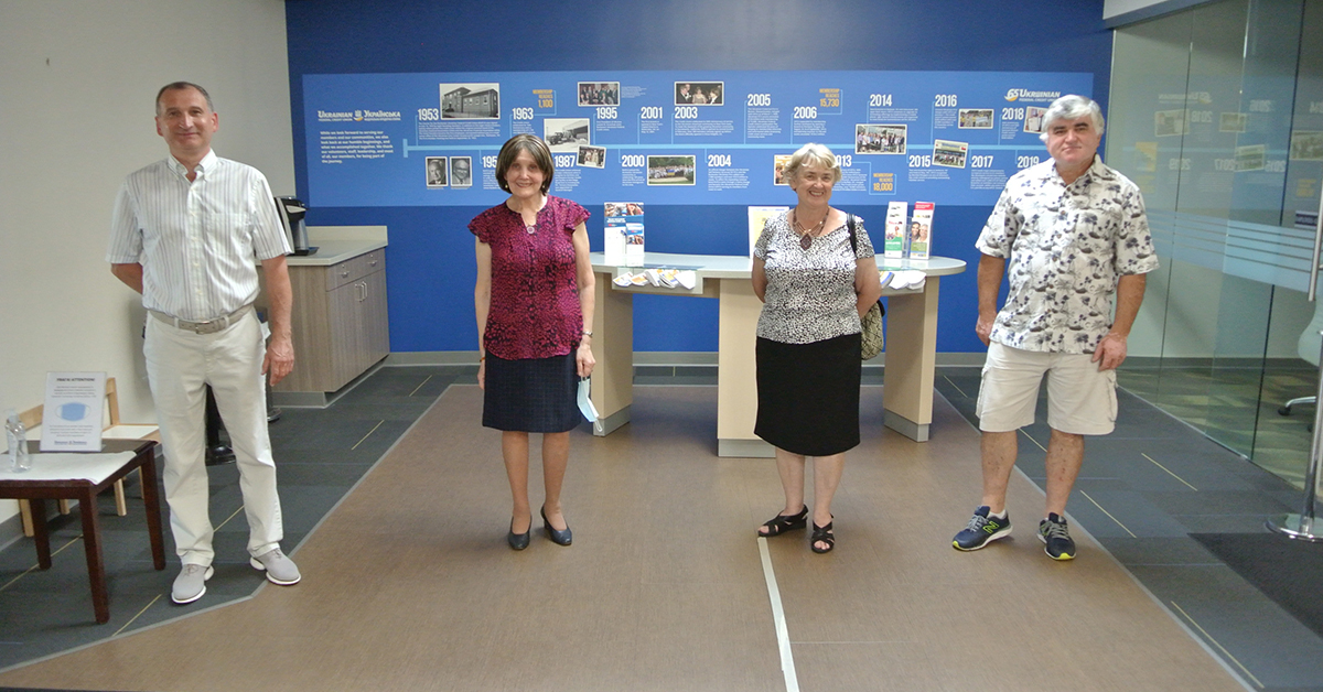 Older adults standing apart