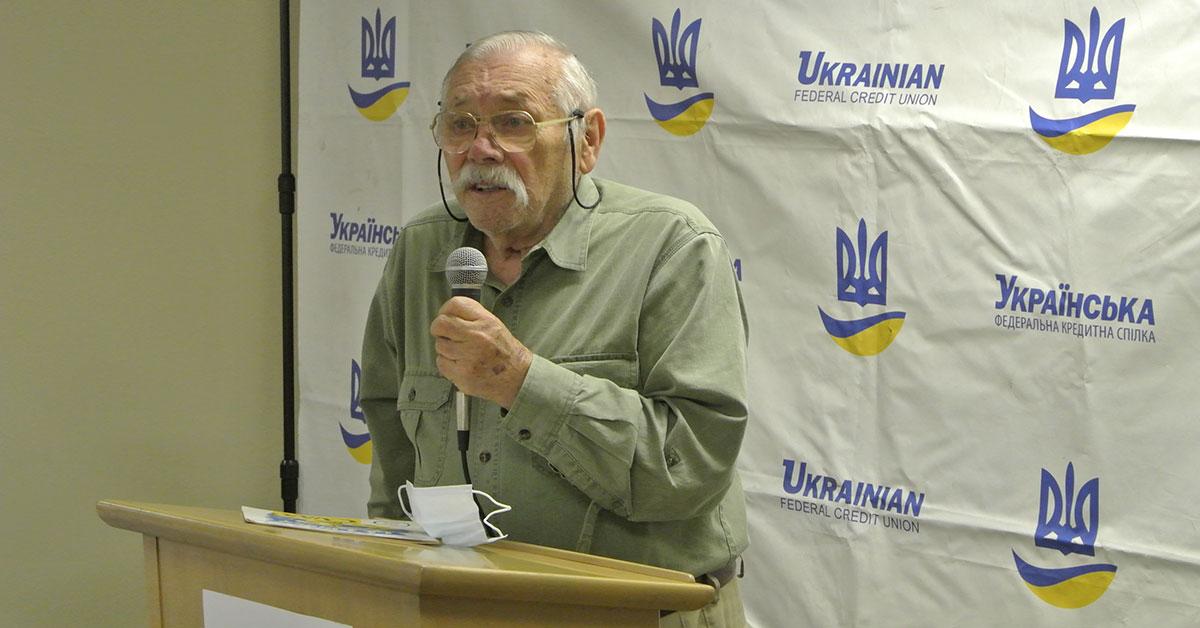 Person speaking at podium