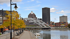 Downtown Rochester skyline and bridge