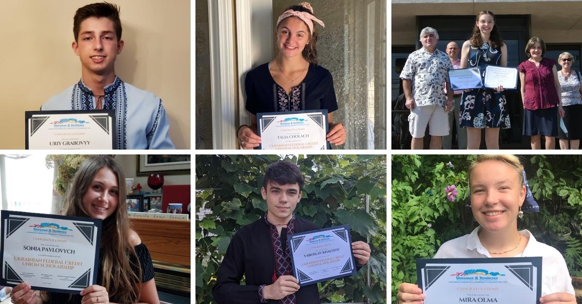 Scholarship winners holding certificates